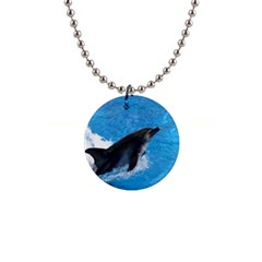 Swimming Dolphin 1  Button Necklace