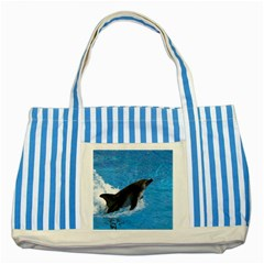 Swimming Dolphin Striped Blue Tote Bag