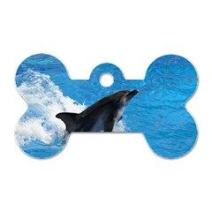 Swimming Dolphin Dog Tag Bone (Two Sides)