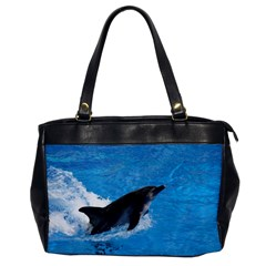 Swimming Dolphin Oversize Office Handbag (one Side)