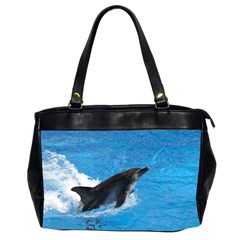Swimming Dolphin Oversize Office Handbag (two Sides)