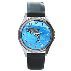 Jumping Dolphin Round Metal Watch