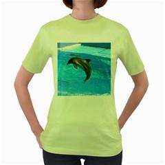 Jumping Dolphin Women s Green T-Shirt