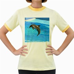 Jumping Dolphin Women s Fitted Ringer T-Shirt