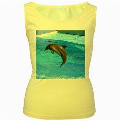 Jumping Dolphin Women s Yellow Tank Top