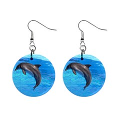 Jumping Dolphin 1  Button Earrings