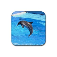 Jumping Dolphin Rubber Square Coaster (4 pack)