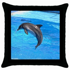 Jumping Dolphin Throw Pillow Case (Black)