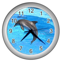 Jumping Dolphin Wall Clock (Silver)