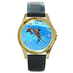 Jumping Dolphin Round Gold Metal Watch