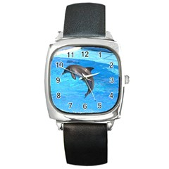 Jumping Dolphin Square Metal Watch