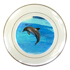 Jumping Dolphin Porcelain Plate