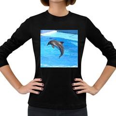 Jumping Dolphin Women s Long Sleeve Dark T-Shirt