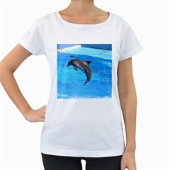 Jumping Dolphin Maternity White T Shirt