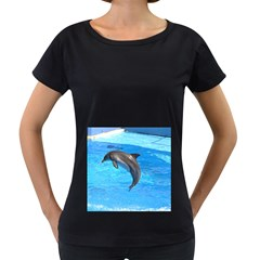 Jumping Dolphin Maternity Black T-Shirt