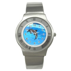 Jumping Dolphin Stainless Steel Watch
