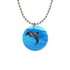 Jumping Dolphin 1  Button Necklace