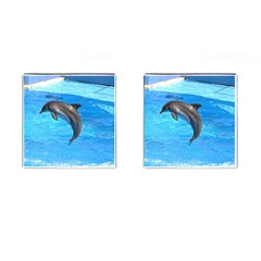 Jumping Dolphin Cufflinks (Square)