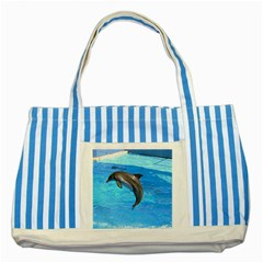 Jumping Dolphin Striped Blue Tote Bag