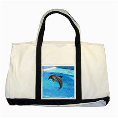 Jumping Dolphin Two Tone Tote Bag