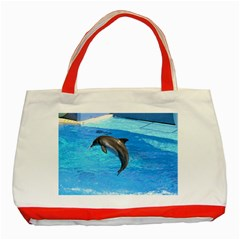 Jumping Dolphin Classic Tote Bag (Red)