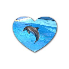 Jumping Dolphin Rubber Coaster (heart)