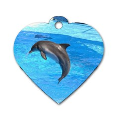 Jumping Dolphin Dog Tag Heart (One Side)