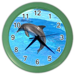 Jumping Dolphin Color Wall Clock