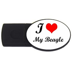 I Love My Beagle USB Flash Drive Oval (1 GB)