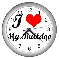 I Love My Beagle Wall Clock (Silver)