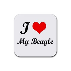 I Love My Beagle Rubber Square Coaster (4 pack)