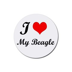 I Love My Beagle Rubber Round Coaster (4 pack)