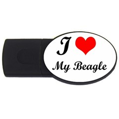 I Love My Beagle USB Flash Drive Oval (4 GB)