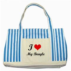 I Love My Beagle Striped Blue Tote Bag