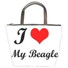 I Love My Beagle Bucket Bag