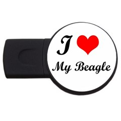 I Love My Beagle Usb Flash Drive Round (2 Gb)