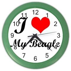 I Love My Beagle Color Wall Clock