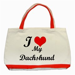 I Love My Beagle Classic Tote Bag (Red)