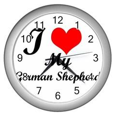 I Love My Beagle Wall Clock (Silver)