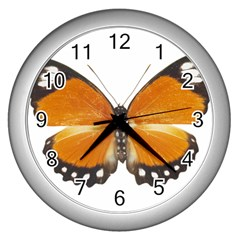 Butterfly Insect Silver Wall Clock