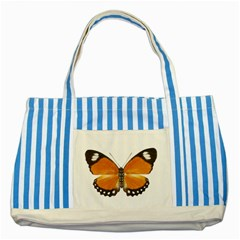 Butterfly Insect Blue Striped Tote Bag