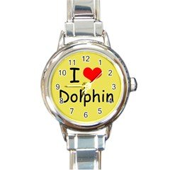 I Love Dolphin Classic Elegant Ladies Watch (round)
