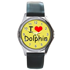 I Love Dolphin Black Leather Watch (Round)