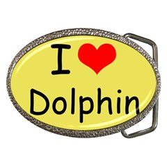 I Love Dolphin Belt Buckle (Oval)