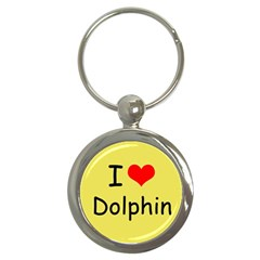 I Love Dolphin Key Chain (round)