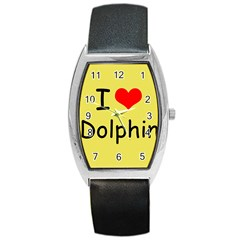 I Love Dolphin Black Leather Watch (tonneau)