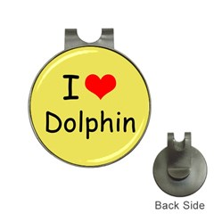 I Love Dolphin Hat Clip with Golf Ball Marker