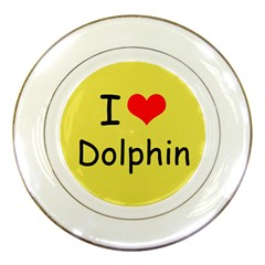 I Love Dolphin Porcelain Display Plate