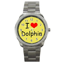 I Love Dolphin Stainless Steel Sports Watch (Round)