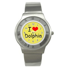 I Love Dolphin Stainless Steel Watch (Round)